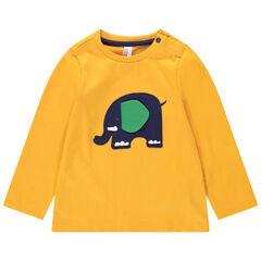 Μακρυμάνικη μπλούζα από ζέρσεϊ με απλικέ μοτίβο ελέφαντα