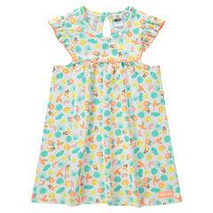 Κοντομάνικο φόρεμα με εξωτικό μοτίβο και βολάν στα μανίκια