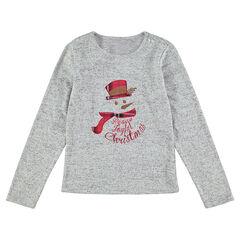 Παιδικά - Χριστουγεννιάτικη μακρυμάνικη μπλούζα με κεντημένο μπάλωμα με χιονάνθρωπο
