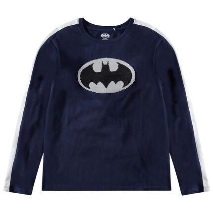 Παιδικά - Μακρυμάνικη μπλούζα ζέρσεϊ με λογότυπο Batman της Warner από «μαγικές» πούλιες