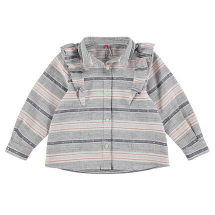 Μακρυμάνικο πουκάμισο με ζακάρ ρίγες και βολάν