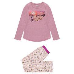 Παιδικά - Ζέρσεϊ πιτζάμα με στάμπα στην μπλούζα και εμπριμέ παντελόνι