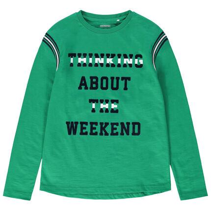 Παιδικά - Μακρυμάνικη μπλούζα από ζέρσεϊ με τυπωμένο μήνυμα