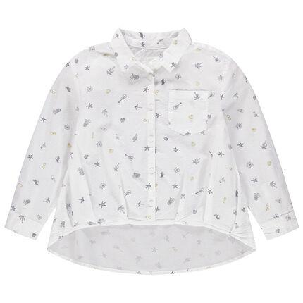Εμπριμέ πουκάμισο σε ασύμμετρη γραμμή