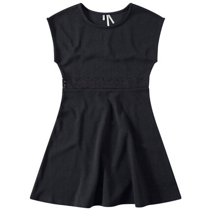 Παιδικά - Κοντομάνικο φόρεμα με λωρίδα από μαύρες πούλιες