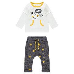 Ζέρσεϊ σύνολο με μπλούζα 2 σε 1 και παντελόνι με εμπριμέ μοτίβο ©Smiley