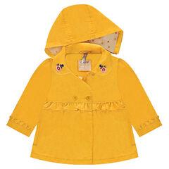 Κίτρινη γυαλιστερή καμπαρντίνα με στρογγυλό γιακά