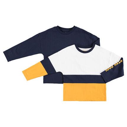 Σετ με 2 ασορτί μακρυμάνικες μπλούζες, μία μονόχρωμη / μία με λωρίδες σε αντίθεση
