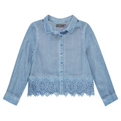 Παιδικά - Κοντό πουκάμισο με μανίκια 3/4 και δαντέλα