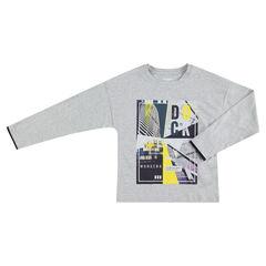 Παιδικά - Μακρυμάνικη ζέρσεϊ μπλούζα με πολύχρωμο τυπωμένο μοτίβο
