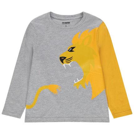 Μακρυμάνικη μπλούζα με στάμπα ένα κίτρινο λιοντάρι