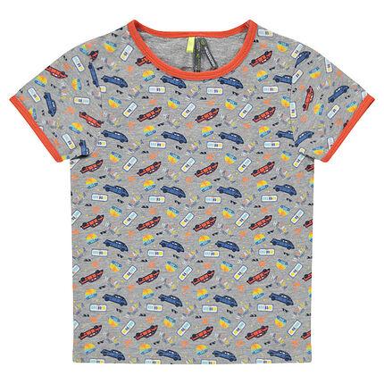 Κοντομάνικη μπλούζα με εμπριμέ μοτίβο αυτοκίνητα