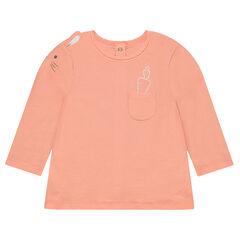 Μακρυμάνικη μπλούζα από ζέρσεϊ με ραμμένα αυτάκια και τυπωμένες λεπτομέρειες