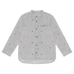 Μακρυμάνικο πουκάμισο με γράμματα και μοτίβο περίγραμμα του Μίκυ της ©Disney