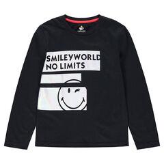 Παιδικά - Μακρυμάνικη μπλούζα από ζέρσεϊ με λωρίδες και στάμπα ©Smiley