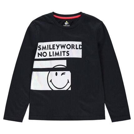 634e492b7789 Παιδικά - Μακρυμάνικη μπλούζα από ζέρσεϊ με λωρίδες και στάμπα ...