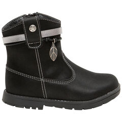 Χαμηλές μπότες από συνθετικό δέρμα με κρεμαστό διακοσμητικό σε σχήμα φύλλου