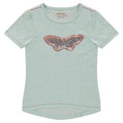 Κοντομάνικη μπλούζα από μελανζέ ζέρσεϊ με πεταλούδα από μαγικές πούλιες και βολάν