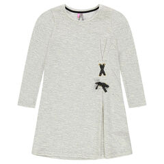 Παιδικά - Μακρυμάνικο φόρεμα μελανζέ με δέσιμο με κορδόνια