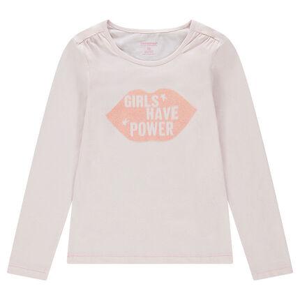 Παιδικά - Μακρυμάνικη μονόχρωμη μπλούζα με τυπωμένο στόμα