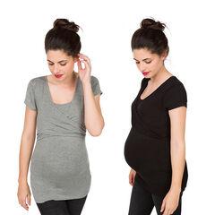 Σετ με 2 κονταμάνικες μπλούζες εγκυμοσύνης και θηλασμού