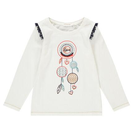 Μακρυμάνικη ζέρσεϊ μπλούζα με τυπωμένη και κεντημένη ονειροπαγίδα
