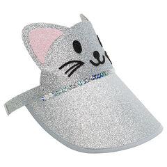 Γείσο καπέλου σε σχήμα γάτας με παγιέτες σε όλη την επιφάνεια