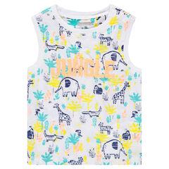 Βαμβακερό αμάνικο μπλουζάκι με διακοσμητικά μοτίβα