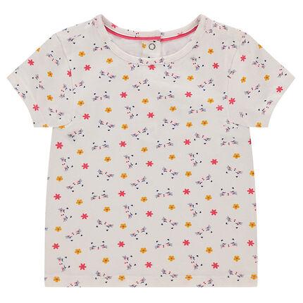 Κοντομάνικη μπλούζα από ζέρσεϊ με εμπριμέ λουλούδια