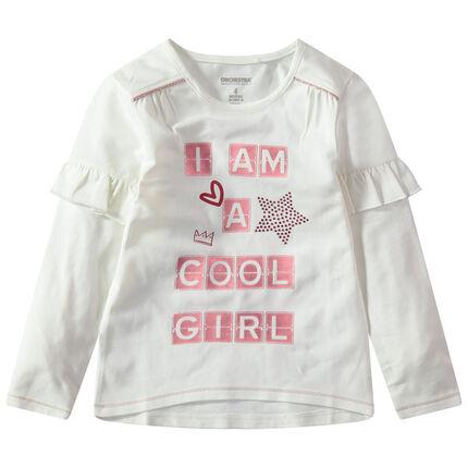 Μακρυμάνικη μπλούζα με βολάν και τυπωμένα γράμματα