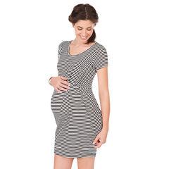 Κοντομάνικο φόρεμα εγκυμοσύνης ριγέ που σουρώνει