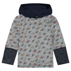 Μακρυμάνικη μπλούζα 2 σε 1 με κουκούλα