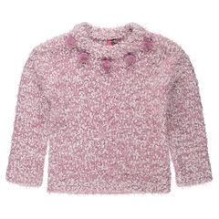 Πλεκτό πουλόβερ με πλέξη κουκουτσάκι και χνουδωτή υφή