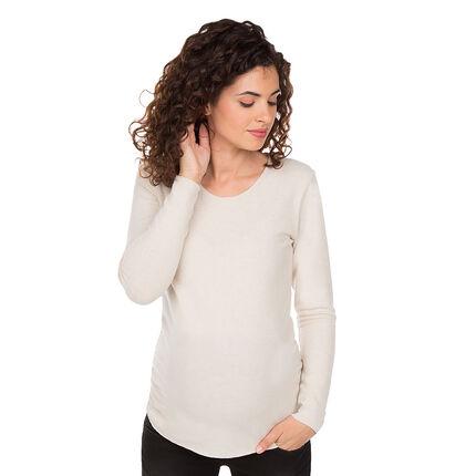 Μονόχρωμο πουλόβερ εγκυμοσύνης σε απαλή πλέξη