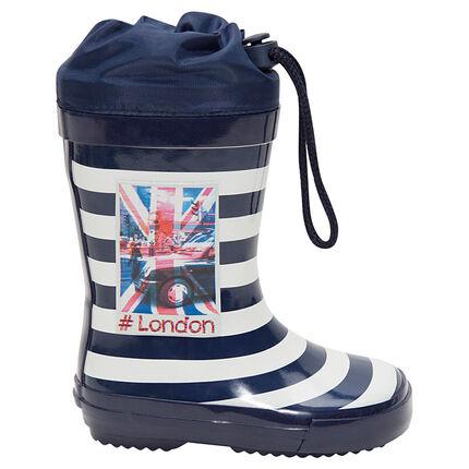 90457679dd5 Ριγέ γαλότσες με αδιάβροχη προστασία στο άνοιγμα και στάμπα London ...