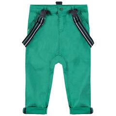 Πράσινο βαμβακερό παντελόνι με αφαιρούμενες ελαστικές τιράντες