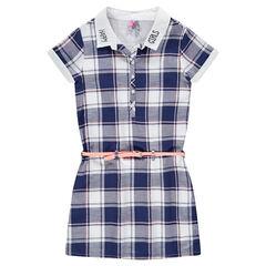 Παιδικά - Κοντομάνικο καρό φόρεμα με αφαιρούμενη ζώνη