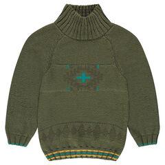 Πλεκτό πουλόβερ με όρθιο γιακά και ζακάρ μοτίβο
