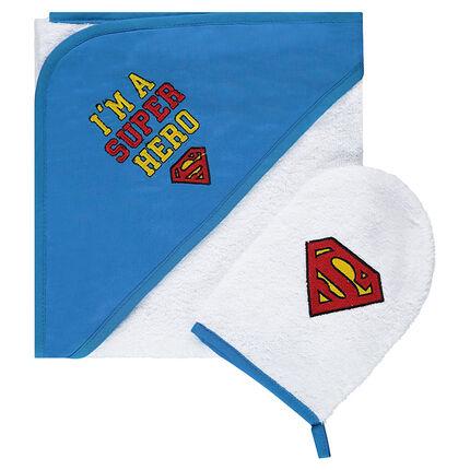 Σετ μπάνιου με κάπα-μπουρνούζι και γάντι μπάνιου Superman της ©Warner