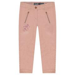 Βαμβακερό παντελόνι με κεντήματα και τσέπες με φερμουάρ