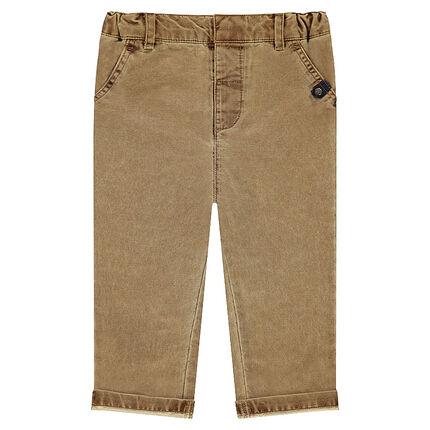 Βαμβακερό παντελόνι με ζέρσεϊ επένδυση με διακοσμητικό σχέδιο