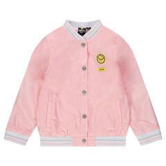 Κολεγιακό μπουφάν από σατέν ροζ ύφασμα με κεντήματα ©Smiley και βολάν πίσω