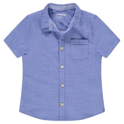 Παιδικά - Κοντομάνικο πουκάμισο μπλε με εξωτερική τσέπη