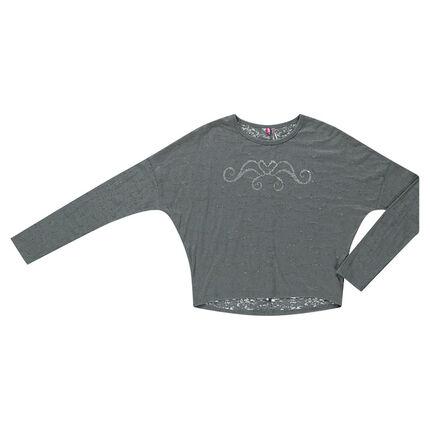 Junior - Tee-shirt manches longues effet chauve-souris avec print argent