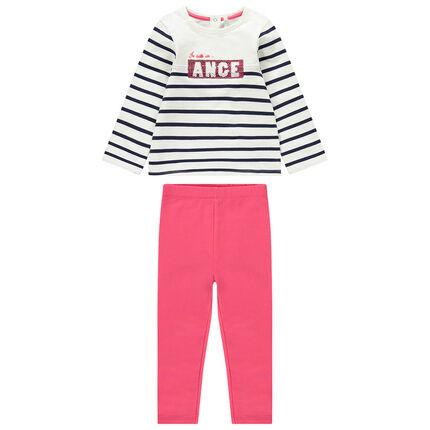 Σύνολο ριγέ μπλούζα με μήνυμα από πούλιες και ροζ κολάν
