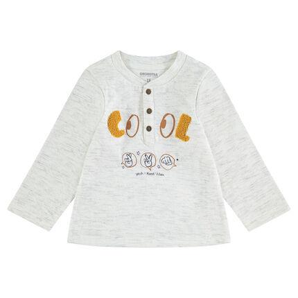 Μακρυμάνικη ριμπ μπλούζα με μπουκλέ γράμματα