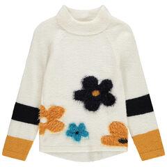 Μακρύ πλεκτό πουλόβερ με όρθιο λαιμό και λουλούδια σε ζακάρ