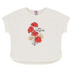 Κοντομάνικη μπλούζα με όψη λινού και τύπωμα παπαρούνες