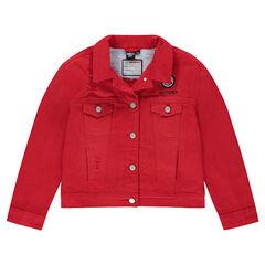 Παιδικά - Τζιν μπουφάν κόκκινο με σήμα ©Smiley και τσέπες