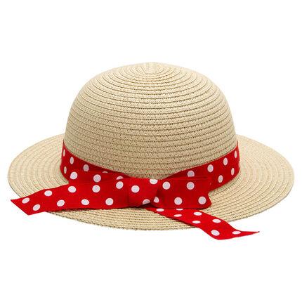 Καπέλο με όψη ψάθας και πουά κορδέλα